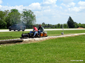 Photo: Engineer Clyde Brown and passenger Cody Crawford     HALS Public Run Day 2014-0419 RPW  12:12 PM