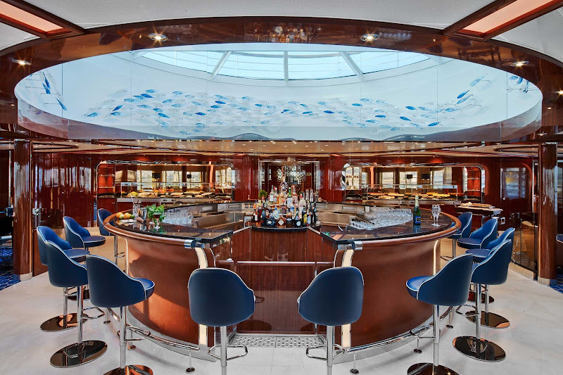 Unwind with a drink in the plush Observation Bar of Seabourn Ovation, launching in May 2018.