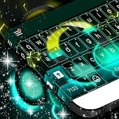 Neon Headphones Keyboard