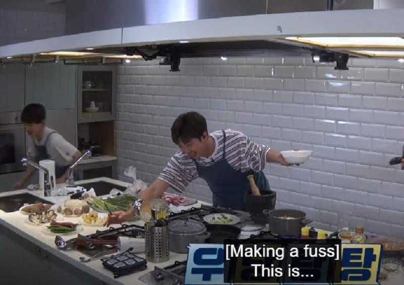 In Run BTS episode 103 Rm Making Fuss in Kitchen