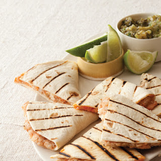Hominy Quesadillas with Grilled Tomatillo Salsa.