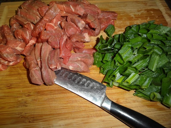 Cut steak into 1/8 inch thick slices, set aside.