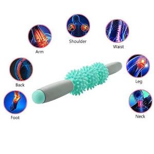 Dispozitiv de masaj Roller stick cu 3 bile zimtate turcoaz