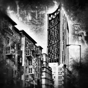 by Jonny Wood - Instagram & Mobile Android ( architecture, architectureporn, architecturelovers, architecturephotography, walworth, walworthroad, skyscraper, skyscrapers, southlondon, southlondonlife, snapseed, blackandwhite, blackandwhitephotography )