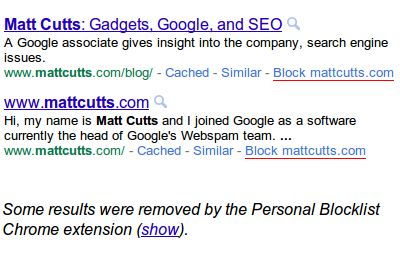 Google Chrome拡張「Personal Blocklist」特定のサイトを検索結果から除去