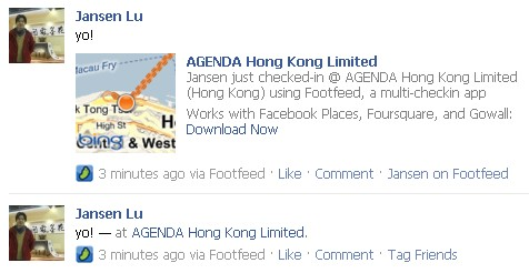 Footfeed Check-in posted on Facebook