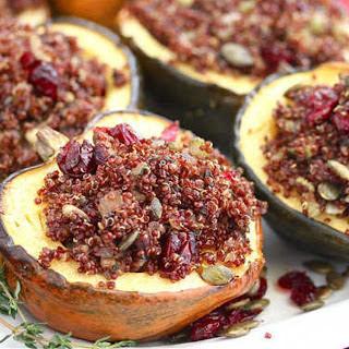 Roasted Acorn Squash Stuffed With Quinoa Mushroom Pilaf [Vegan].