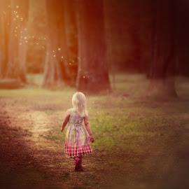 Alice in Wonderland by Robert Mullen - Digital Art Places ( sun rays, path, sunlight, fairy dust, fireflies, children, woods, forrest, trees, child, fog )