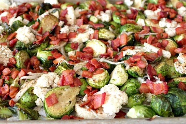 Toss crumbled bacon in with cooked veggies. Toss with balsamic vinegar.