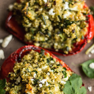 Stuffed Peppers With Quinoa, Courgette And Feta.