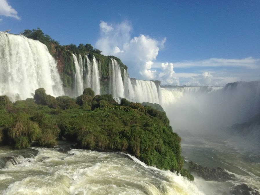 Looking up at the falls from the Brazilian side.