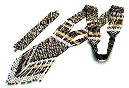 купить гердан и браслет в коричнево-бежевых тонах Anabel