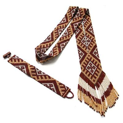 купить комплект (гердан и браслет) бежево коричневый Anabel