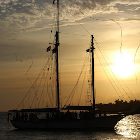 Sunset in Key West by Heather Taulbee McIntyre - Novices Only Landscapes ( sunset, florida, boats, key west )