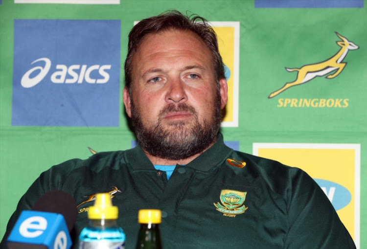 Matt Proudfoot (Forward Coach) of South Africa during the South African national rugby team media conference at Garden Court Umhlanga on August 14, 2018 in Durban, South Africa.