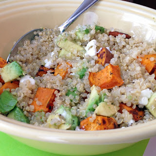 Quinoa with Roasted Sweet Potatoes, Avocado + Goat Cheese