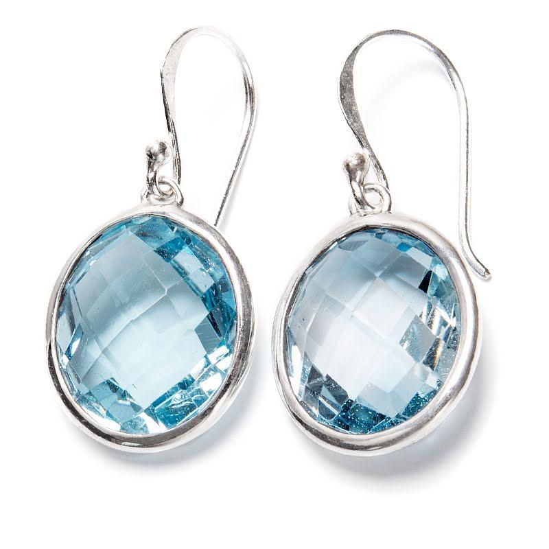 Blå topas, örhängen med fasettslipad sten
