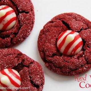 Red Velvet Peppermint Kiss Cookies.