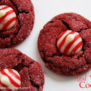 Red Velvet Peppermint Kiss Cookies.