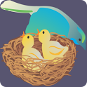 Mommy bird and her chick icon