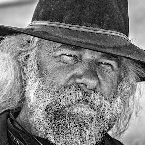 Old West Guy by Sue Matsunaga - Black & White Portraits & People