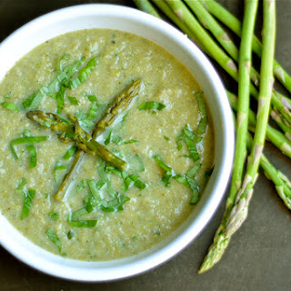 Roasted Asparagus, Cauliflower, and Mushroom Soup