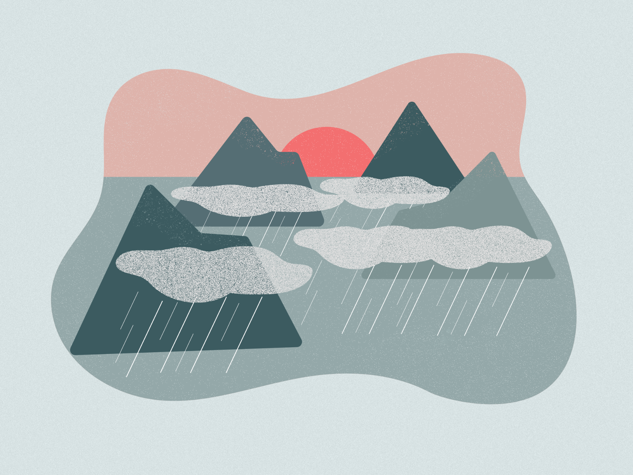 illustration of mountains with rain falling and sunrise behind