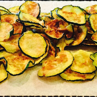 Forking Easy Microwave Zucchini Chips.