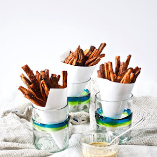 BBQ Baked Sweet Potato Fries with Honey Mustard Sauce