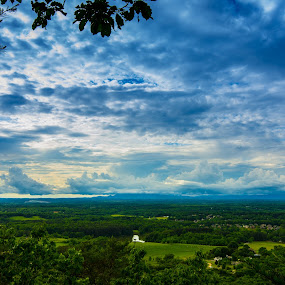Blue Ridge Foothills by James Woodward - Landscapes Cloud Formations ( view, georgia, stormy, clouds, village,  )
