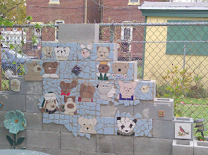 Photo: Bear Woods Mosaic Project Phase 1.   Coming eventually, depending on time and weather forecast, a few more bears, mirror, and more.  There will be flowers planted in the block.