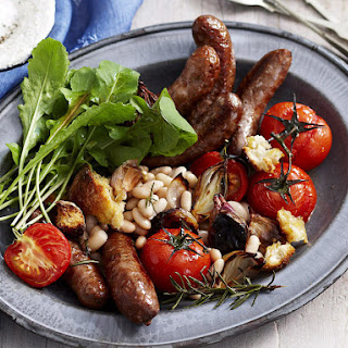 Baked Sausages with Tomatoes and White Beans.