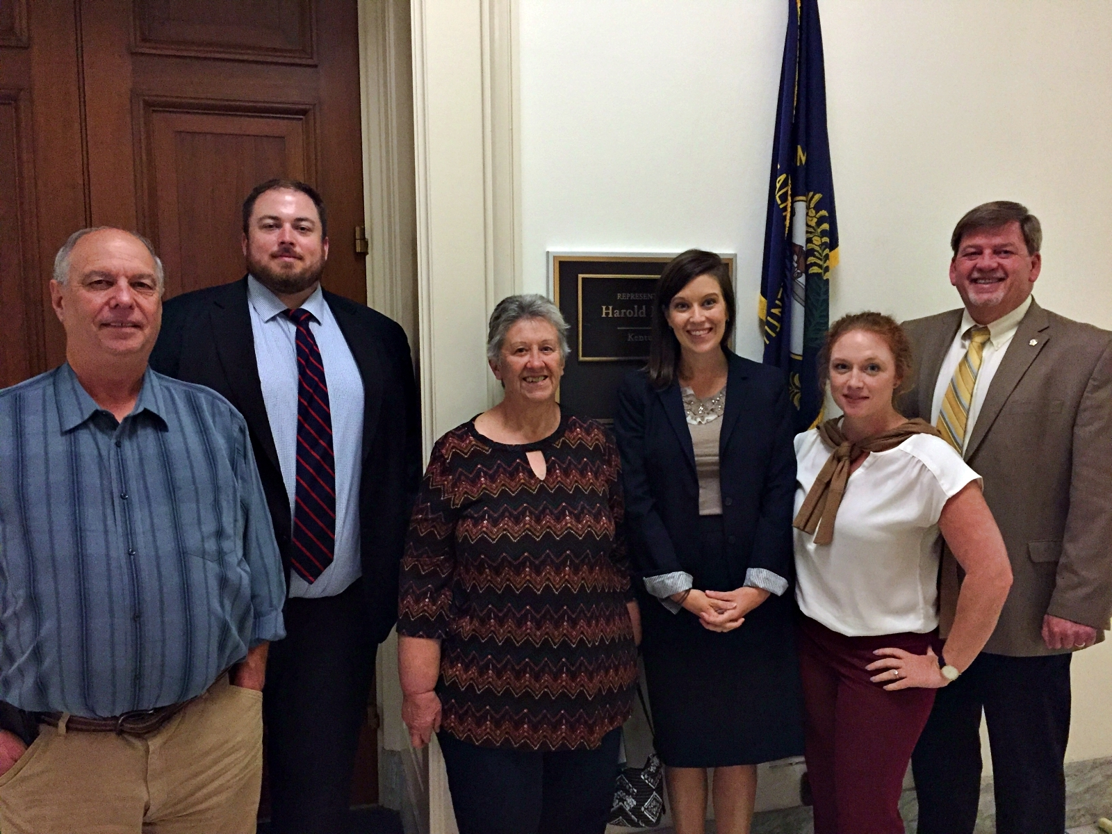 Hattie, Larry, Sarah, and Judge Executive Jim Ward meet with Megan Bell and Jake Johnson of Congressman Hal Rogers' Staff