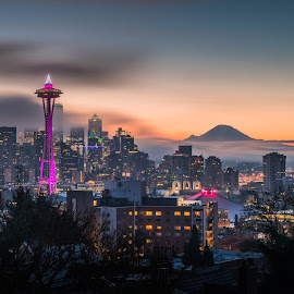 Sunrise of Space Needle by Louis Tam - City,  Street & Park  Vistas ( sunrise, mountain, landmark, landscape, colors )