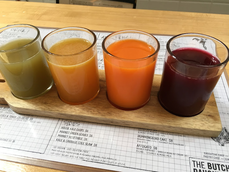 Flight of juice: left to right: Eastern Promise #11, Honey Bee #8, Orange #2, Red #1