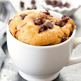 Flourless Peanut Butter Chocolate Chip Mug Cake.