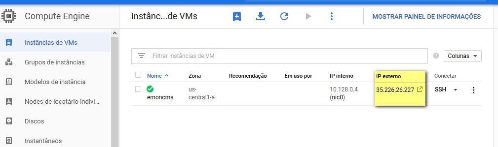 Emoncms no Google Cloud - NissanLeafPT com