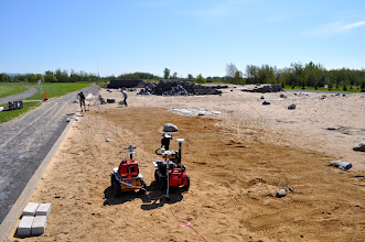Photo: This year we brought two robots to the Canadian Space Agency's Mars Emulation Terrain in Montreal, each being used for different tests.