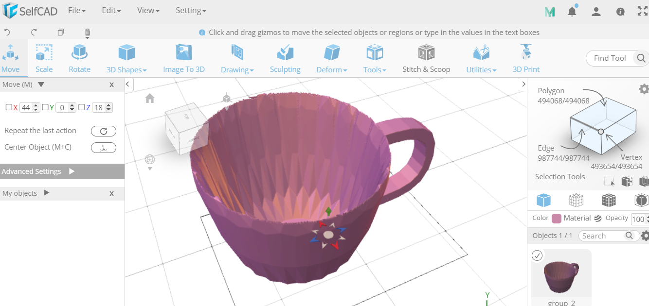 Cup being designed in SelfCAD