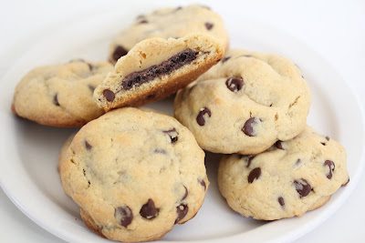 close-up photo of a plate of Stuffed Chocolate Chip Cookies