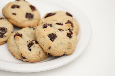close-up photo of a plate of Chocolate Chip Brownie Chunk Cookies