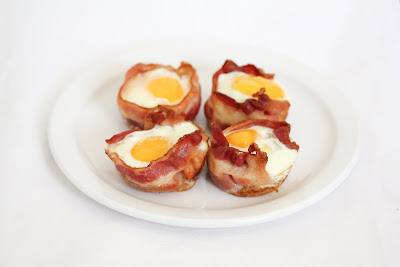 photo of four Bacon Egg Toast Cups on a plate