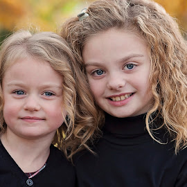 sisters by Melissa Marie Gomersall - Babies & Children Child Portraits ( hair, curly, portraite, backlight, sisters )