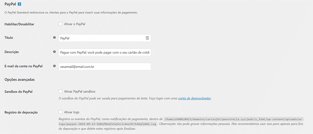 tela de configurações do paypal no plugin woocommerce do wordpress