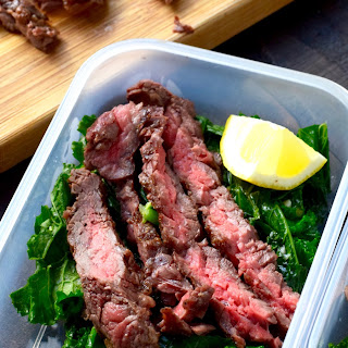 Grilled Steak with Wilted Kale.