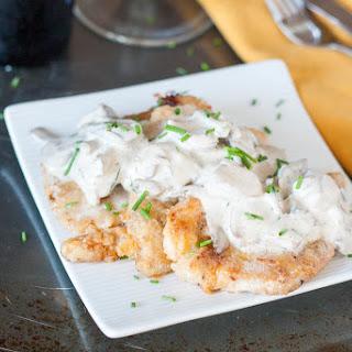 Rahmschnitzel - German Schnitzel with Mushroom Cream Sauce.
