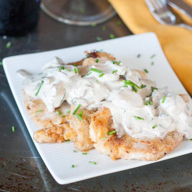 Rahmschnitzel - German Schnitzel with Mushroom Cream Sauce