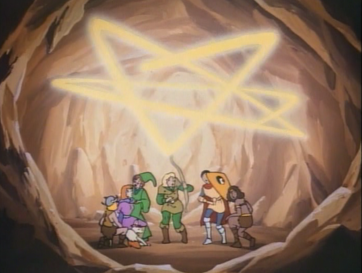 The kids crouch under a glowing pentacle