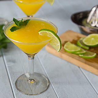 Frozen Mango Rum Cocktail with Mint.