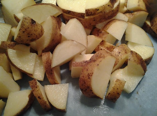 Cut up potatoes into 1 to 2-inch chunks.